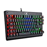 EagleTec KG040 RGB Beleuchtete Mechanische Gaming Tastatur Blaue Schalter Für PC Gamer Büro USB Kabel Gebunden 87 Tasten Kompaktes Ergonomisches Design (Deutsch QWERTZ Layout)