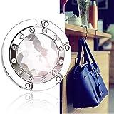 Bingsale® Taschenhalter Grau Crystal mit magnetischer Gliederhalterung - Taschenhaken & Handtaschenhalter als perfekte Geschenkidee für Frau