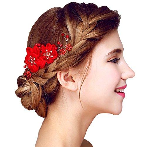 YAZILIND elegante tocado de pelo nupcial peine de encaje flores cubic zirconia accesorios de la boda del pelo partido para las mujeres y las ninas