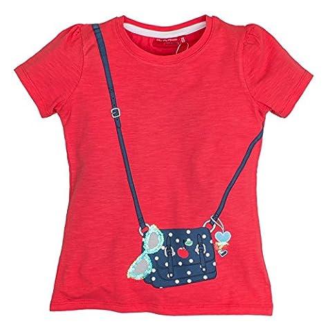 SALT AND PEPPER Girl's Smile Print Tasche T-Shirt, Rot (Hibiscus
