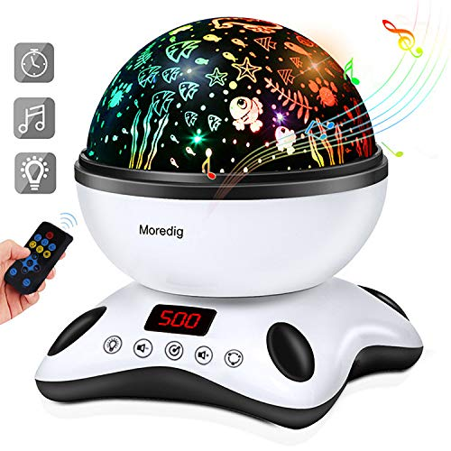 Moredig Baby Light Projector Remote Control and Timer Design Projection  lamp, Built-in 12 Light Songs 360 Degree Rotating 8 Colorful Lights  Children