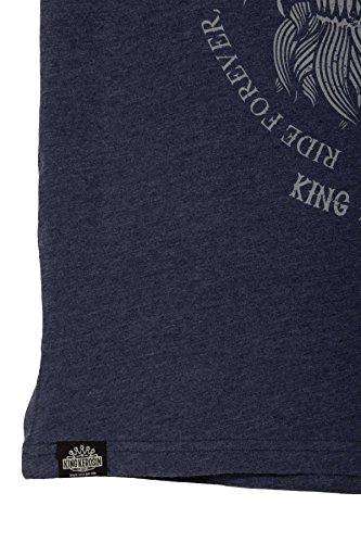 Long Live–scollo a V maglietta Melange navy scuro