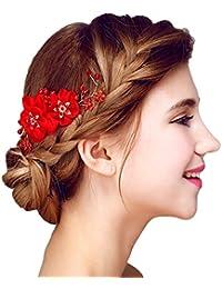 YAZILIND Elegante Tocado de Novia de Pelo Pins Flores Rojo Perla de la Boda Accesorios de Pelo Partido para Las Mujeres y Las Ninas