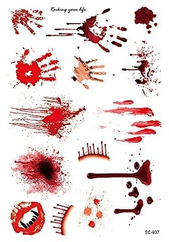 Bigood 5pcs Halloween Zombie Cicatrices Papier Tatouage Temporaire Déguisement Maquillage 150*105mm Style