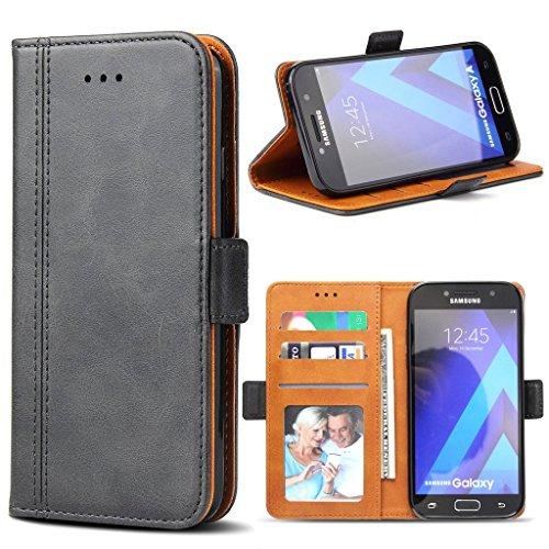 Bozon Galaxy A3 2017 Hülle, Leder Tasche Handyhülle für Samsung Galaxy A3 (2017) Schutzhülle mit Ständer und Kartenfächer/Magnetverschluss (Dunkel-Grau)