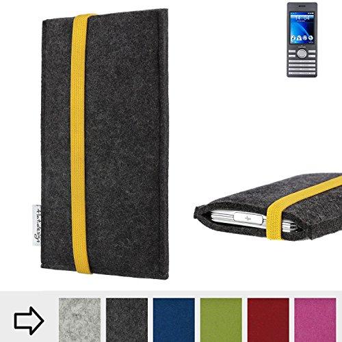 flat.design Handy Hülle Coimbra für Kazam Life B6 passgenau Handytasche Filz Tasche fair schwarz gelb