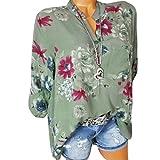Sonnena Damen Sommer Langarm V-Ausschnitt Taste T-Shirt Pullover Frauen Große Größe Chiffon Hemd Bluse Mode Blumen Drucken Lose Fit Oberteile Tops (2XL, Sexy Grün)