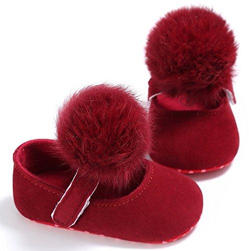 Nouveau-né Baby Prewalker Chaussures pour fille avec Pom Pom red