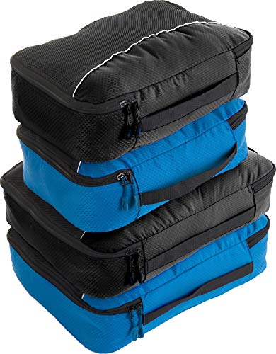 Luggage Packing Cubes 4pcs Value Set - Plus 6pcs Ziplock Bags - 2 x Black / 2 x Blue