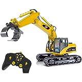 Top Race® Excavadora a Control Remoto 15 Canales, Tractor de Construcción con Grapas de Dientes ~ Grapa de Metal ~ (TR-215)