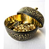 Wens Handcrafted Brass Dry Fruit Bowl With Lid (Brass, 12.75 Cm X 12.75 Cm X 14 Cm, Black And Golden)