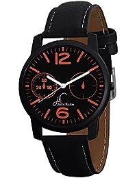 Jack Klein Stylish Round Dial Black Strap Analogue Wrist Watch