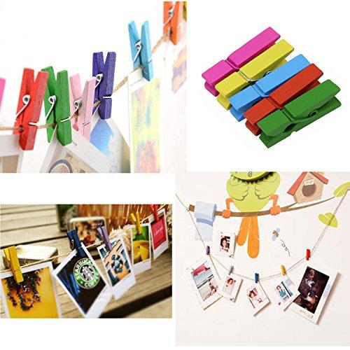 KEESIN Clips de fotos Mini pinzas de madera coloridas Foto de papel Clavija Clip de arte DIY con 10 m de yute Twine 100PCS, color Radom (Colored-100PCS)