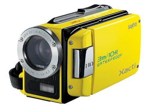 Sanyo Xacti VPC-WH1EX HD-Camcorder (SD/SDHC-Card, 30-Fach Opt. Zoom, 2 Megapixel, 6,4 cm (2,5 Zoll) Display, bis zu 3m wasserdicht) gelb