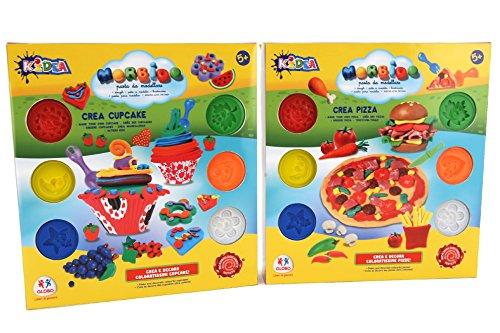 Globo Toys Globo-3768150gm kidea Pizza und Cupcake Topf Soft Clay Set mit Zubehör (6-teilig) - Art Clay Copper Clay