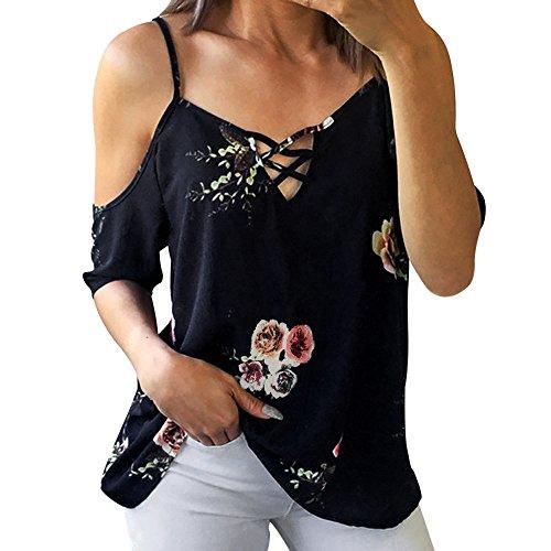 Damen Geblümt Rundkragen Hemdshirt Sexy Schulterfrei Kurzarm T-Shirt Frauen Mode Lose Tee Streetwear Tops Sommertops Kleidung Blusenshirt (Navy, 2XL)
