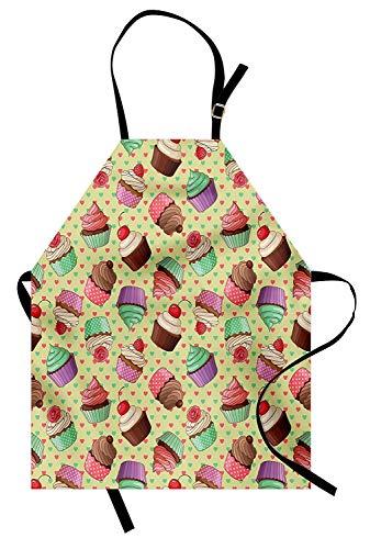 Kaffee-Schürze, Coffee Shop Bäckerei inspiriert leckere Cupcake-Muster auf einem Polka Dot Herzen Hintergrund, Unisex-Küche Latzschürze mit verstellbarem Hals zum Kochen Backen Gartenarbeit, Multicolo