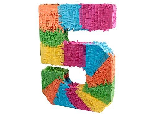 Alsino Pinata | en Forme du Chiffre 5 | en Papier Mâché | Multicolore | Décoration | Jeu | Anniversaire, 62/0965 Pinata-Chiffre 5
