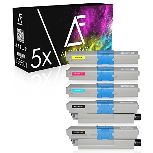 Oki Color Drucker (5 Toner komaptibel zu OKI C301, C321DN, C301DN, MC332DN, MC342DN, MC342DNW, MC340 Series - Schwarz je 2.200 Seiten, Color je 1.500 Seiten)