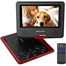 """Reproductor de DVD Portátil de 7.5"""" con Pantalla Giratoria, 5 Horas recargable incorporada de la batería, Compatible con Tarjetas SD y USB, con el cargador del coche y dispositivo de juego -  Rojo"""