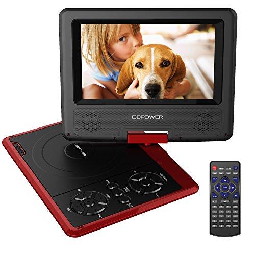 DBPOWER 7.5'' Lettore DVD portatile, 5 ore Batteria ricaricabile, display inclinabile, Massimo support con schede SD, pennette USB e riproduzione diretta di AVI/RMVB/MP3/JPEG (Rosso, 7.5)