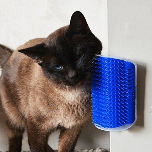 leoboone Útil plástico para Mascotas Gato Gato masajeador Cepillo cómodo rincón Gato Masaje Auto Peluquero Peine Cepillo Accesorios para Mascotas Azul, Azul
