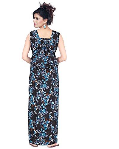Satyam Nighties Women's Soft Cotton Sleeveless Front and Back Neck Nighty (SSAKP43-04, Blue, Large)