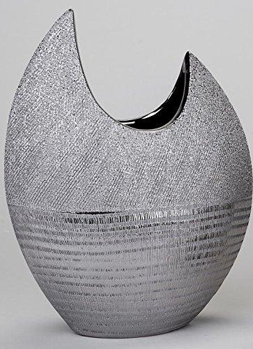 Moderne-Deko-Vase-Blumenvase-aus-Keramik-in-silber-Hhe-30-cm