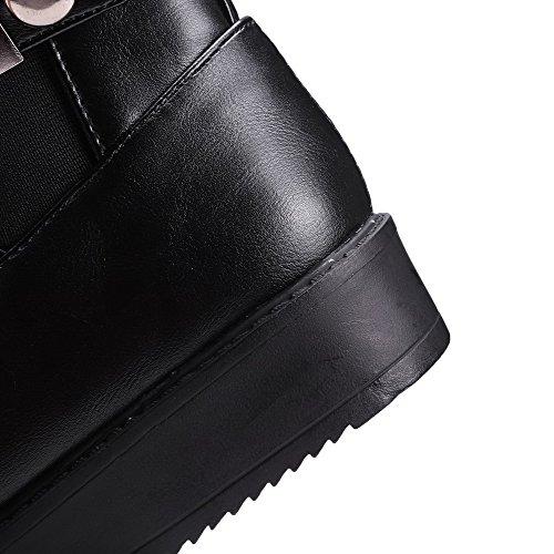 VogueZone009 Femme Rond Haut Bas à Talon Bas Couleur Unie Pu Cuir Bottes avec Boucle Noir