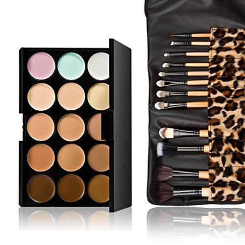 Pixnor Face Contour Kit 15 couleurs visage Contour crème anticernes Palette de maquillage avec des brosses de 12pcs