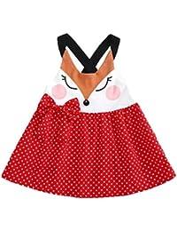 Sonnena vestido Niña vestido, correa de costura Fox de sin manga indo tutú vestido rojo
