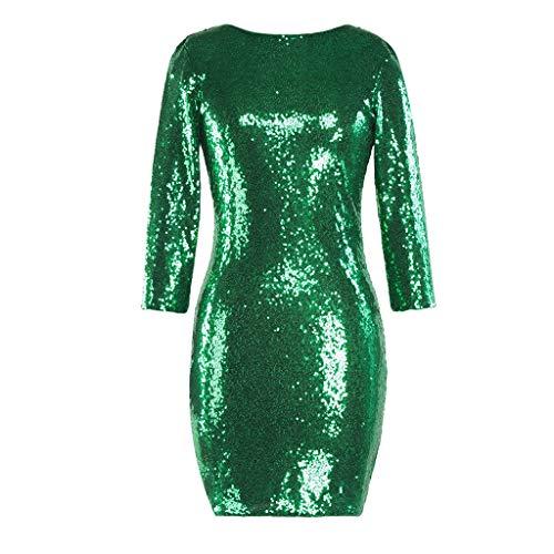 TUDUZ Kleider Festlich Langarm Damen V-Ausschnitt Sparkly Stretch Pailletten Bodycon Party Minikleid Freundin Kreativ Geschenk (T-Grün, XL) -