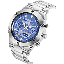 MapofBeauty Sports Watches Men's Quartz Digital Dual-display Multi-function Stainless Steel Mens Watches(Silver Band&Light Blue Dial)