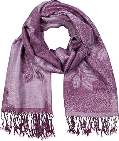 FUPashRose06AG Châle / Echarpe / Etole Léger Deux couleurs Rose Floral Design Contours Pashmina - (Lavanda Collo Wrap)