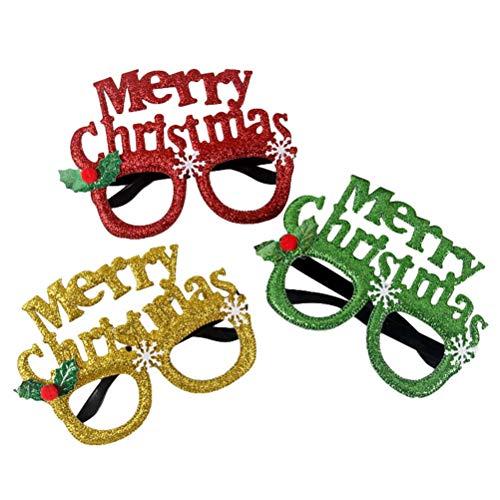 Kostüm Weihnachtsbaum Muster - BESTOYARD Weihnachten Brille Lustige Partybrille Merry Christmas Weihnachtsbaum Geweihe Kranz Form Weihnachtskostüm Party Gastgeschenk 2 Stück (Zufällige Muster)