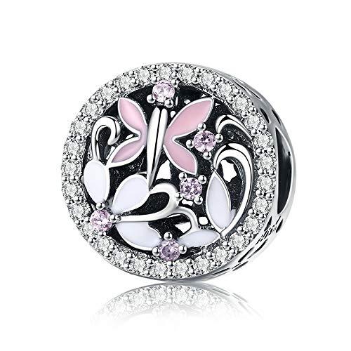 Charm-Anhänger Libelle Schmetterling Sterling-Silber 925 Zirkonia transparent für Charm-Armbänder Ketten DIY Schmuck