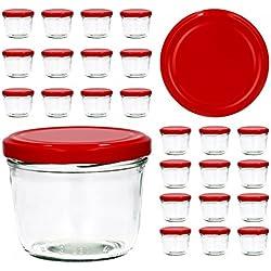 Lot de 25 bocaux en Verre Couvercle to 82 - Confiture Bocaux en Verre pour Conservation de Confiture Couvercles dorés Capacité 230 ML Rouge