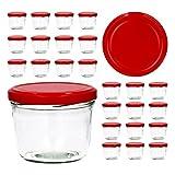 25er Set Sturzglas 230 ml To 82 roter Deckel Marmeladenglas Einmachglas Einweckglas