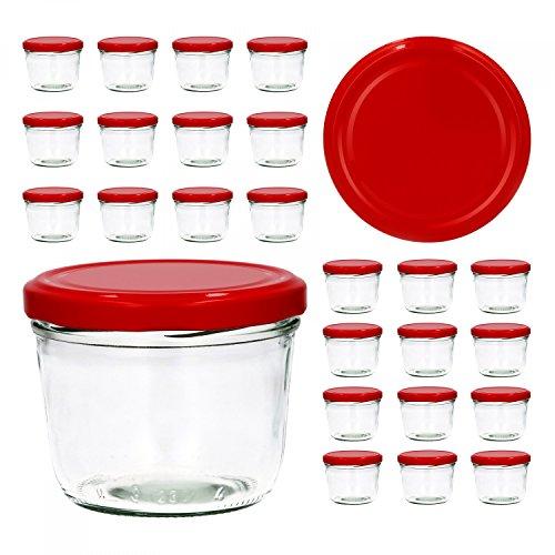 CapCro 25er Set Sturzglas 230 ml to 82 roter Deckel Marmeladenglas Einmachglas Einweckglas