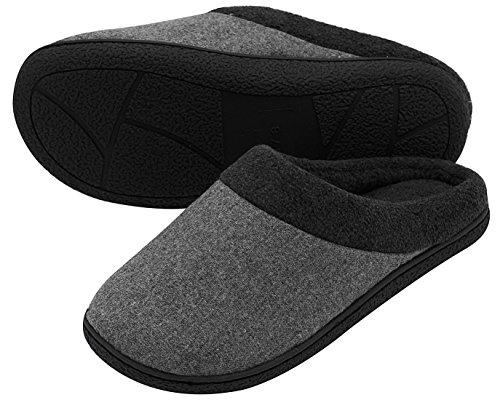 Hometop da uomo di lana tessuto Memory foam antiscivolo pantofole, con tripla Addensato suola Grau