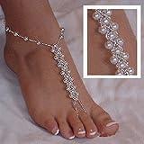 Hemore 2 pezzi (1 paio) perla sandali a piedi nudi spiaggia gioielli piede di nozze cavigliera braccialetto nuziale Halloween