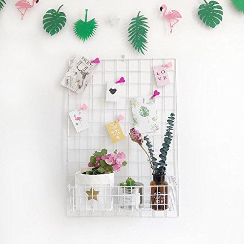 Design-Wandgitter zum Aufhängen | Moodboard | Gitterwand | Dekogitter | Draht | Netz | Rack | Mesh | Memo Board | Wandhalterung | Wand-Organizer | Fotowand | 65 x 45 cm (Weiss) (Draht-wand Rack)
