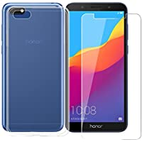 ZXLZKQ Funda para Huawei Honor 7S/Huawei Y5 2018/Huawei Y5 Prime (2018) Cover Transparente Funda TPU + Película de Vidrio Templado Gel Cubierta Suave Silicona Carcasa Case Cover Tapa Caso