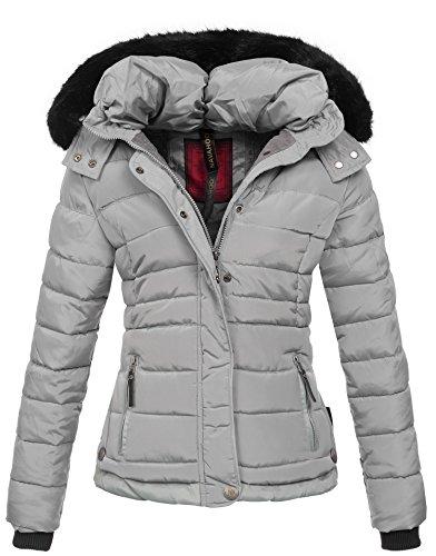 Navahoo warme Damen Winter Jacke Parka Mantel Stepp Kurzjacke gefüttert B301 [B301-Grau -Gr.M]