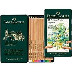 Faber-Castell 112112 - Estuche de metal con 12 ecolápices Pitt pastel, multicolor