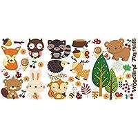 Ruikey 1 Unids Gracioso Pegatinas de Pared Animales del Bosque Extraíble Arte Pegatina de Pared Tatuajes de Pared Decoración Para El Hogar para Habitación para Niños Kindergarten