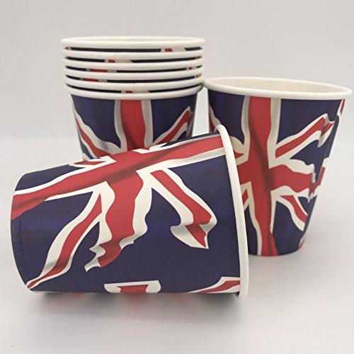 Carpeta 8 Becher * Großbritannien * für Länder-Party und Mottoparty | mit Union Jack als wehende Fahne Bedruckt | Pappbecher Partybecher Set UK GB England Union Jack -