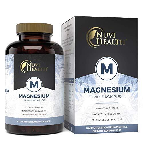 Nuvi Health® Magnesium Komplex - 240 Kapseln - 2250 mg davon 375 mg eltementares Magnesium pro Tagesportion - Magnesiumbisglycinat Magnesiumcitrat Magnesiummalat - Hochdosiert - Laborgeprüft