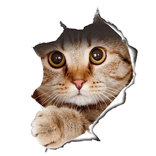 Pared sticker4u de mascotas Pegatinas 3d gato perro Animales Puerta WC Cuarto de baño baño inodoro WC Pegatina en vinilo decorativo adhesivo decorativo para azulejos jardín Ventana Auto