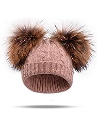Sunonip Vera Pelliccia di Visone Cappello con Pompon Cappellino Invernale  Cappello di Lana Lavorato A Maglia 42770368628b